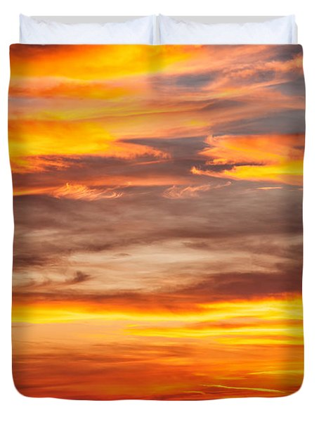 Fire In The Sky Duvet Cover by Brian Boudreau