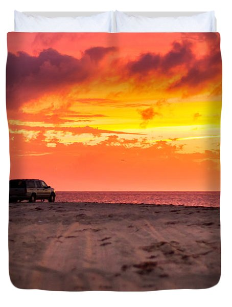 Fire In The Sky Duvet Cover by Brian Caldwell