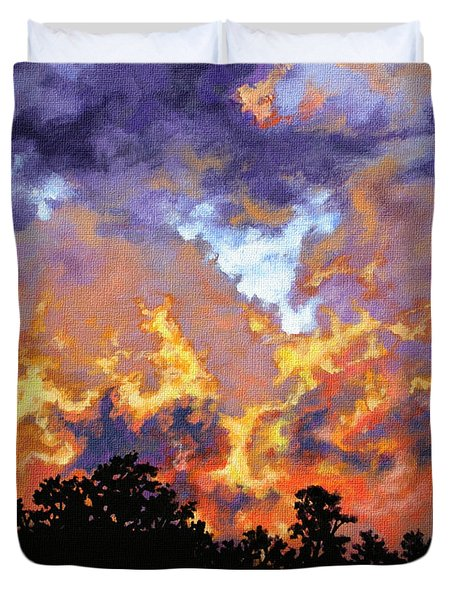 Duvet Cover featuring the painting Fire In The Sky by Craig T Burgwardt