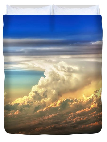Fire In The Sky From 35000 Feet Duvet Cover