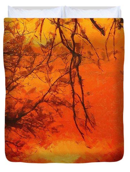 Fire In The Sky Duvet Cover by Jeffrey Kolker