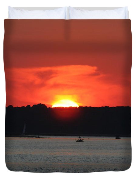 Duvet Cover featuring the photograph Fire In The Sky by Karen Silvestri