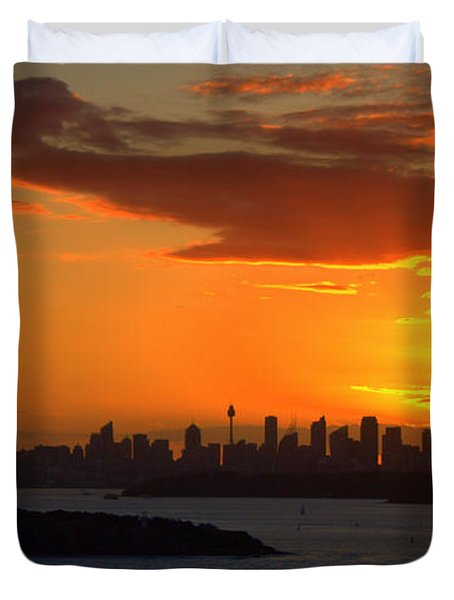 Duvet Cover featuring the photograph Fire In The Sky by Miroslava Jurcik
