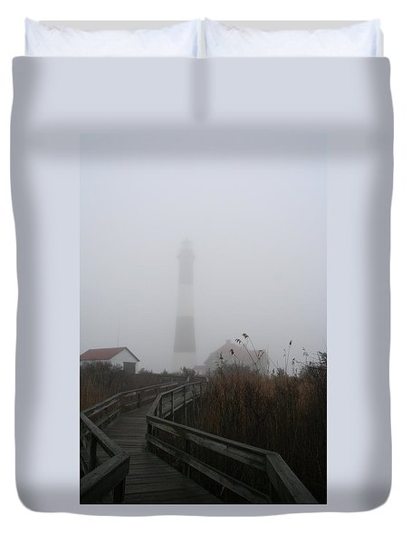 Fire Island Lighthouse In Fog Duvet Cover