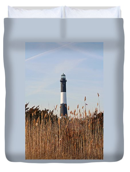 Duvet Cover featuring the photograph Fire Island Tower by Karen Silvestri