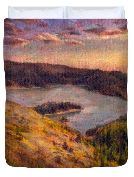 Fire Lake At Sunset Duvet Cover