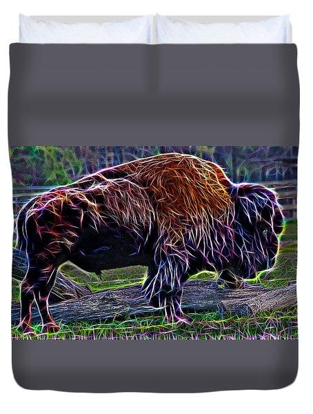 Fire Of A Bison  Duvet Cover by Miroslava Jurcik