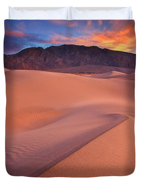 Fire On Mesquite Dunes Duvet Cover
