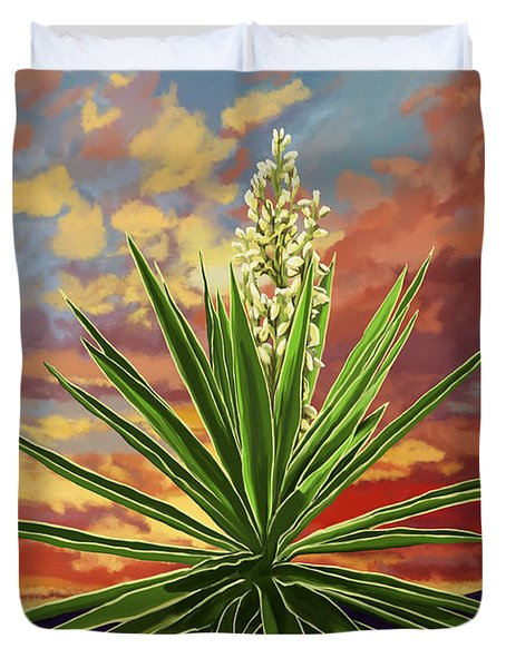 Fire Sky Desert Blooming Yucca Duvet Cover by Tim Gilliland
