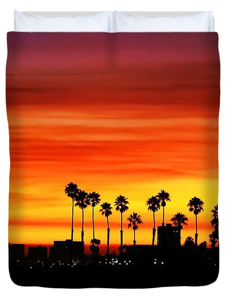 Duvet Cover featuring the photograph Fire Sunset In Long Beach by Mariola Bitner