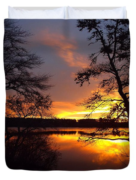 Duvet Cover featuring the photograph Sunrise Fire by Dianne Cowen