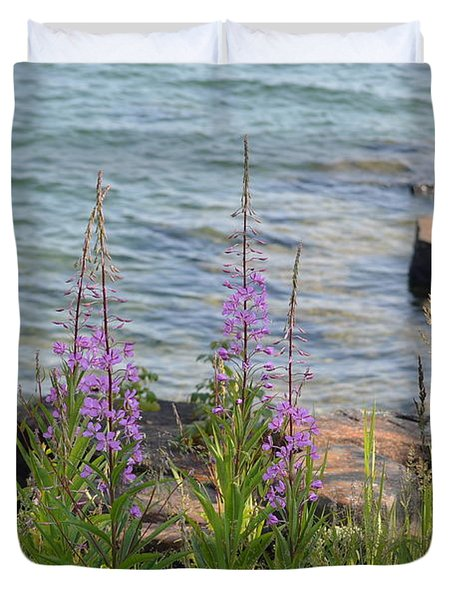 Fire Weed By Shore Duvet Cover