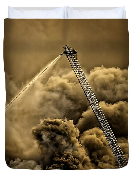 Firefighter-heat Of The Battle Duvet Cover by David Millenheft