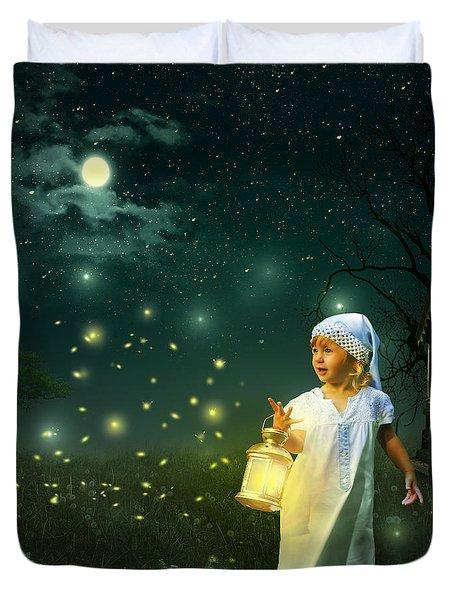 Fireflies Duvet Cover by Linda Lees