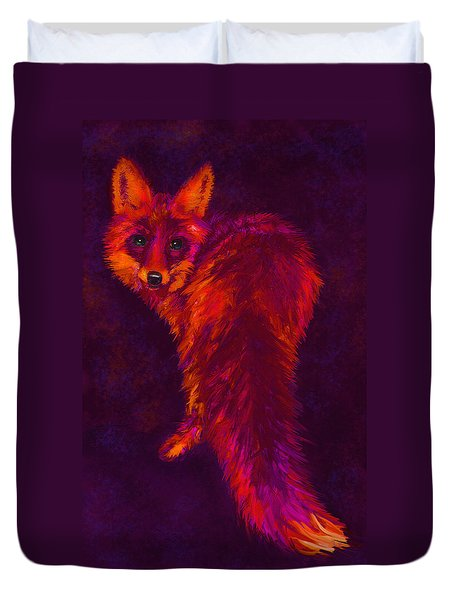 Duvet Cover featuring the digital art Firefox by Jane Schnetlage