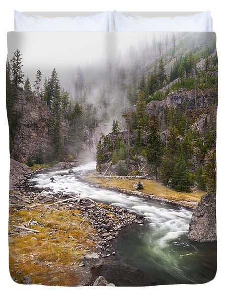 Firehole Canyon - Yellowstone Duvet Cover by Brian Harig
