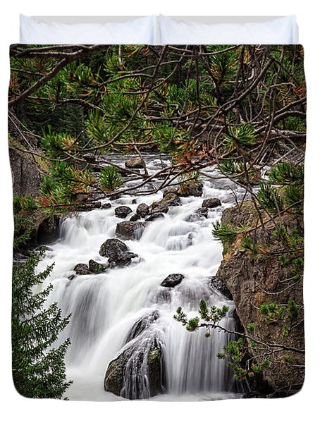 Firehole River Waterfall Yellowstone Np Duvet Cover