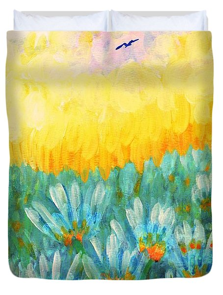 Duvet Cover featuring the painting Firelight by Holly Carmichael
