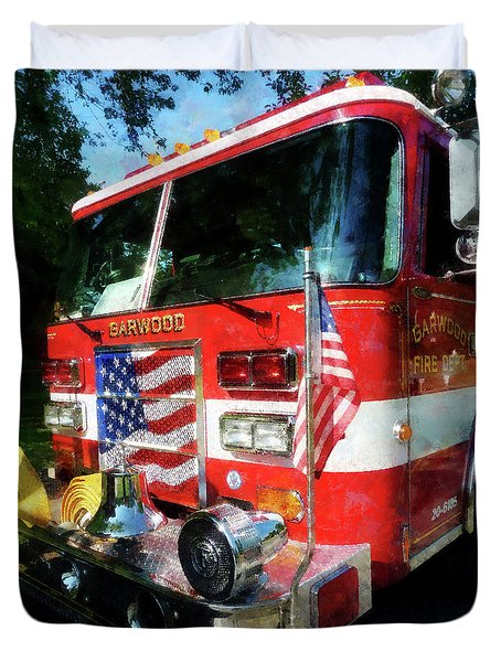 Fireman - Front Of Fire Engine Duvet Cover by Susan Savad
