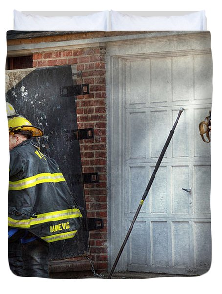 Fireman - Take All Fires Seriously  Duvet Cover by Mike Savad