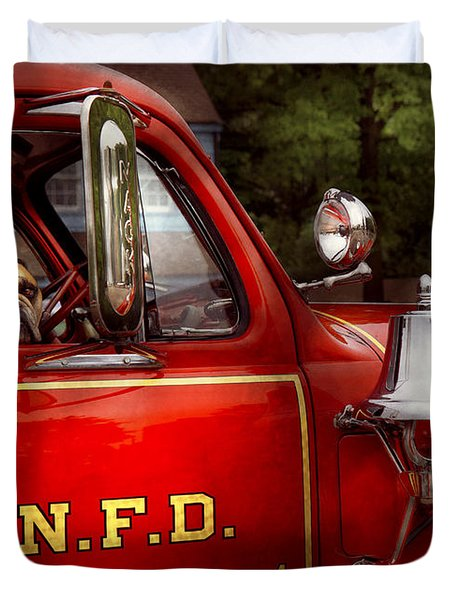 Fireman - This Is My Truck Duvet Cover by Mike Savad