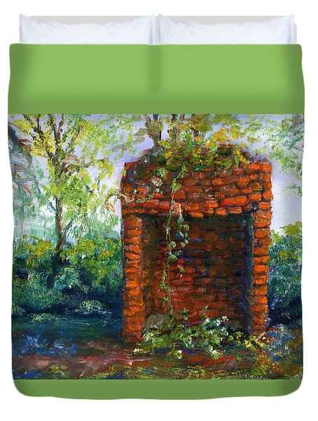 Fireplace At Melrose Plantation Louisiana Duvet Cover