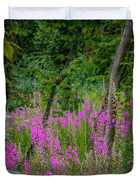 Fireweed In The Irish Countryside Duvet Cover