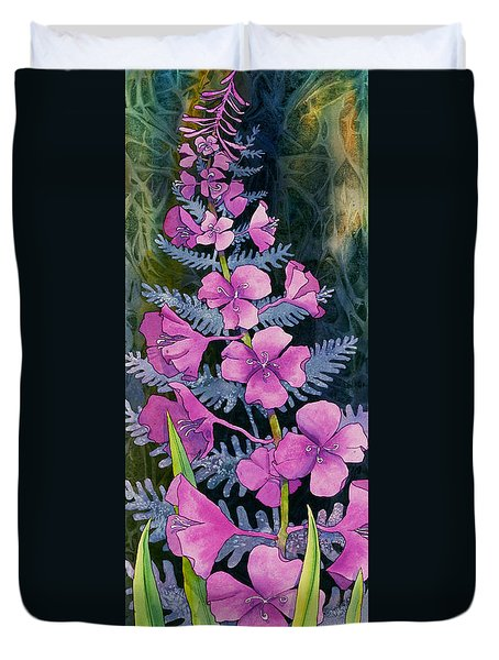 Duvet Cover featuring the painting Fireweed Solitaire by Teresa Ascone