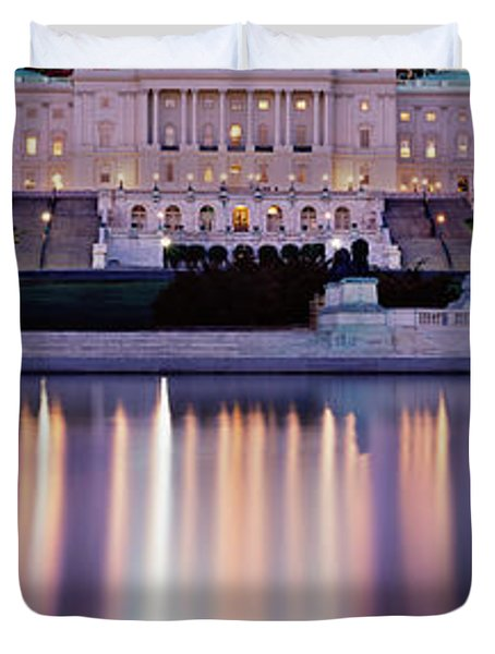 Firework Display Over A Government Duvet Cover by Panoramic Images