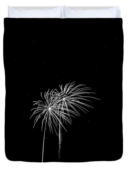 Firework Palm Trees Duvet Cover by Darryl Dalton