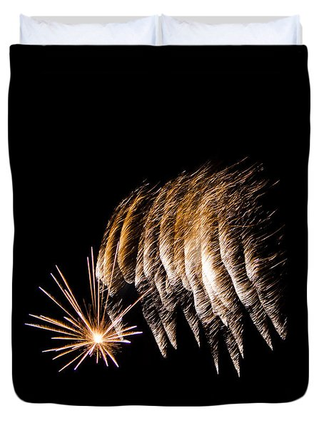 Duvet Cover featuring the photograph Fireworks 1 by Susan  McMenamin