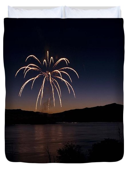 Duvet Cover featuring the photograph Fireworks 11 by Sonya Lang