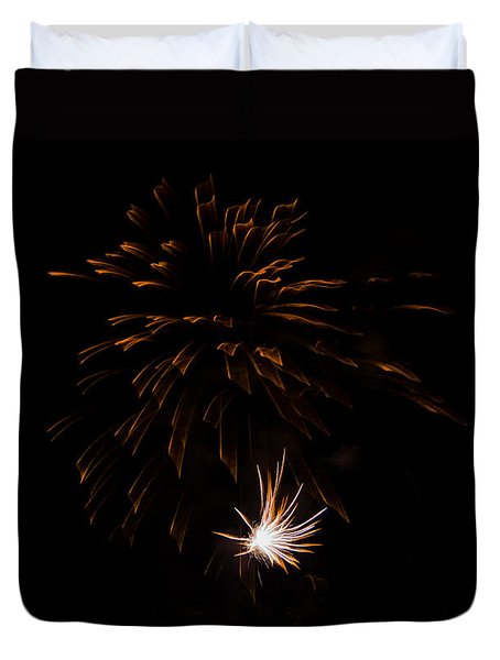 Duvet Cover featuring the photograph Fireworks 2 by Susan  McMenamin