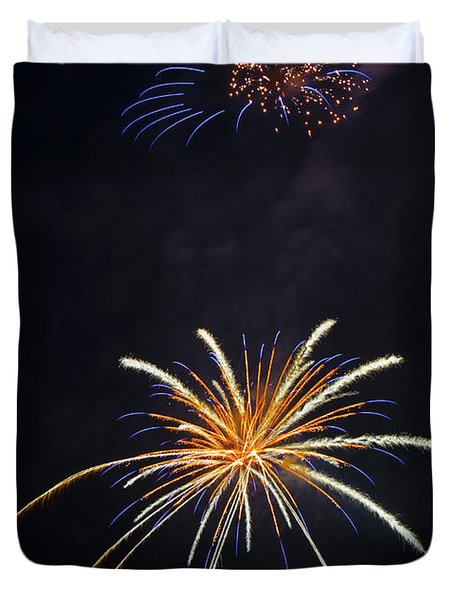 Fireworks 3 The Spaceship Duvet Cover by Dianne Phelps
