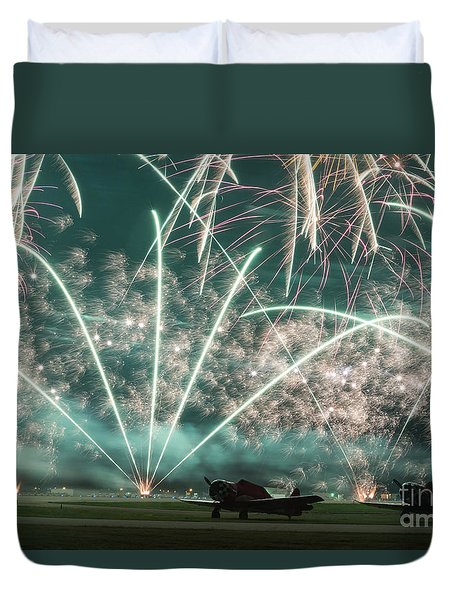 Fireworks And Aircraft Duvet Cover