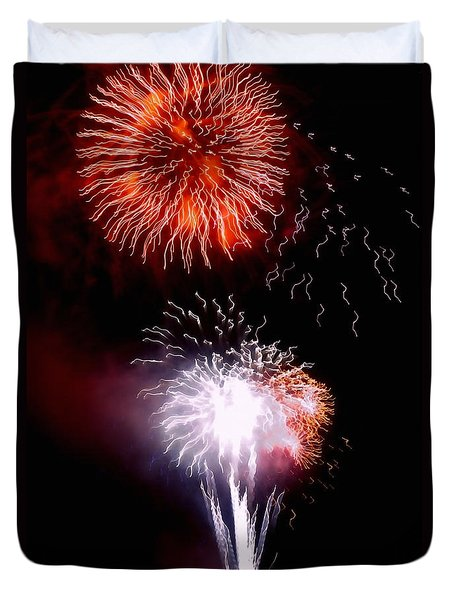 Duvet Cover featuring the photograph Fireworks by Art Block Collections