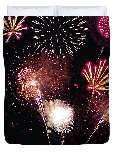 Fireworks At St. Albans Bay Duvet Cover