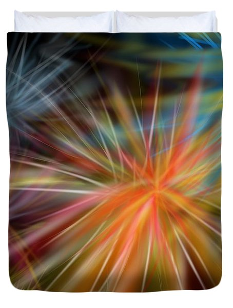Duvet Cover featuring the digital art Fireworks by Christine Fournier