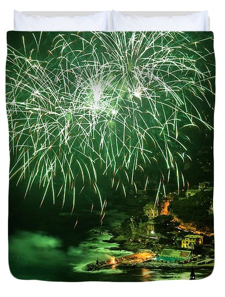 Duvet Cover featuring the photograph Fireworks Hdr by Antonio Scarpi