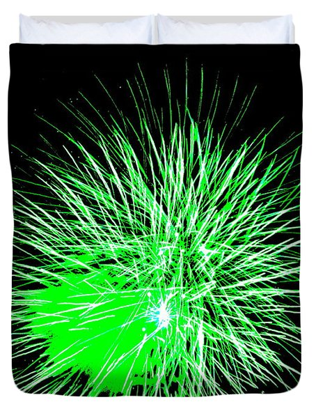 Duvet Cover featuring the photograph Fireworks In Green by Michael Porchik
