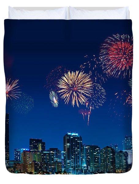 Fireworks In Miami Duvet Cover