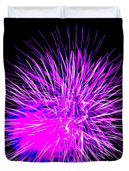 Duvet Cover featuring the photograph Fireworks In Purple by Michael Porchik