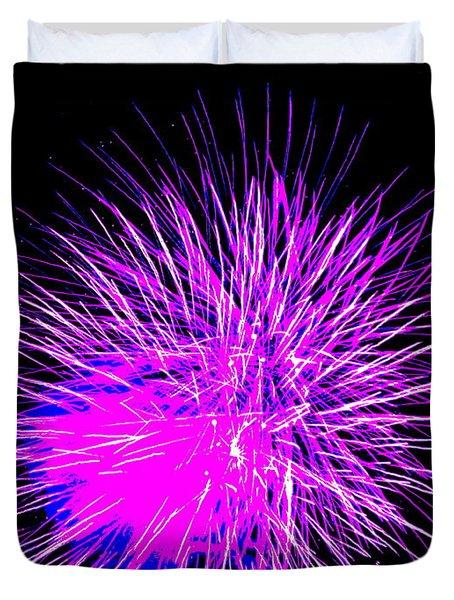 Fireworks In Purple Duvet Cover by Michael Porchik
