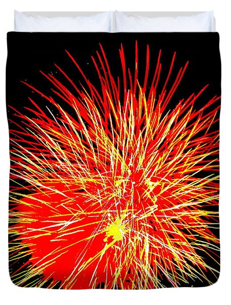 Duvet Cover featuring the photograph Fireworks In Red And Yellow by Michael Porchik