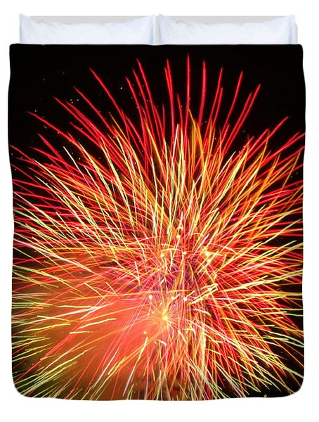 Duvet Cover featuring the photograph Fireworks  by Michael Porchik