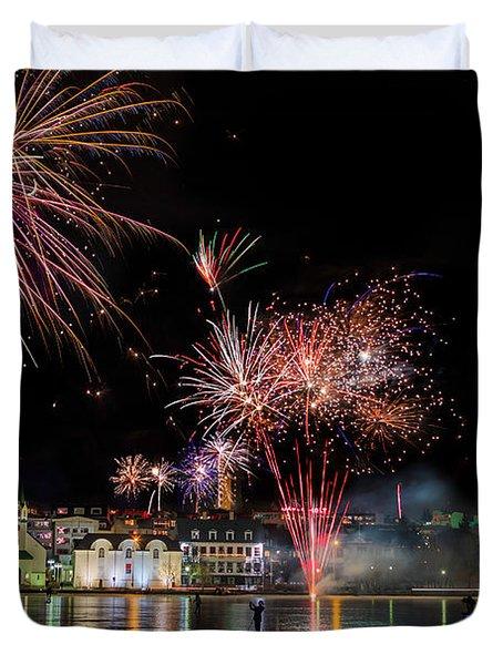 Fireworks On New Years Eve, Reykjavik Duvet Cover