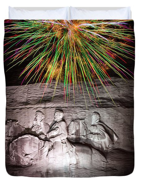Fireworks Over Stone Mountain Duvet Cover