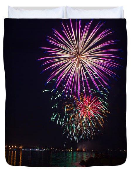 Fireworks Over The York River Duvet Cover by James Drake