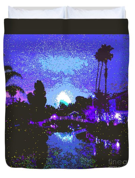 Fireworks Venice California Duvet Cover by Jerome Stumphauzer