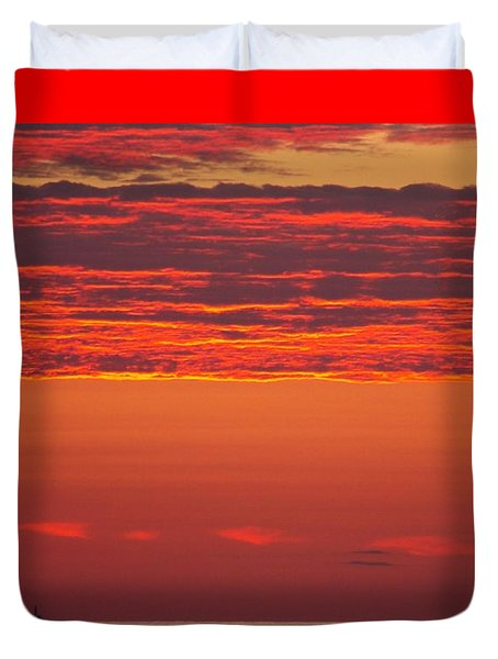 Duvet Cover featuring the photograph Fiery Sky by Eunice Miller